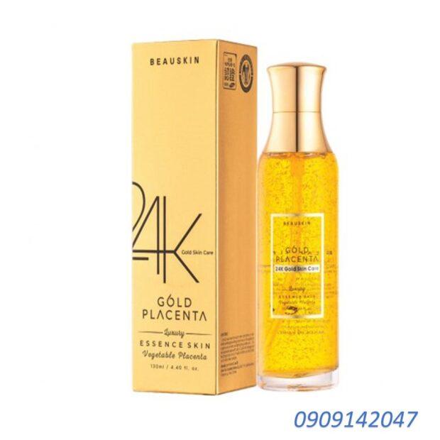 Nước hoa hồng trắng da, xóa xạm nám từ tinh chất vàng BEAUSKIN LUXURY 24K PLACENTA GOLD Hàn quốc 150ml