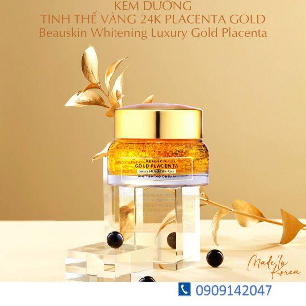 KEM DƯỠNG TRẮNG MỜ THÂM NÁM TINH THỂ VÀNG 24K BEAUSKIN WHITENING LUXURY GOLD PLACENTA 55G